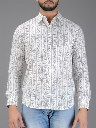 White-Grey Block Printed Full Sleeve Cotton Shirt
