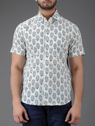 Ivory-Black Block-printed Half Sleeve Cotton Shirt