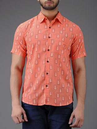 Peach Block-printed Half Sleeve Cotton Shirt