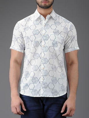 Ivory-Blue Block-printed Half Sleeve Cotton Shirt