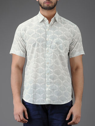 Ivory-Grey Block-printed Half Sleeve Cotton Shirt