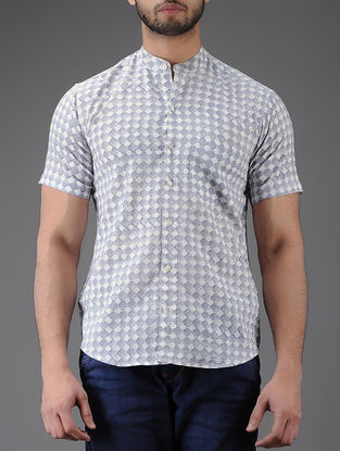 Ivory-Purple Block-printed Mandarin Collar Half Sleeve Cotton Shirt