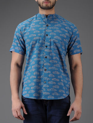 Blue-Beige Block-printed Mandarin Collar Half Sleeve Cotton Shirt