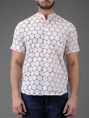 Ivory-Peach Block-printed Mandarin Collar Half Sleeve Cotton Shirt