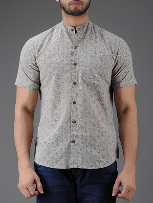 Grey-Black Block-printed Mandarin Collar Half Sleeve Cotton Shirt