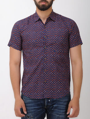 Blue-Red Block- printed Half Sleeve Cotton Shirt