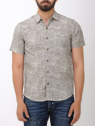 Beige-Grey Block- printed Half Sleeve Cotton Shirt