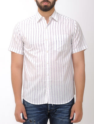 White-Grey Printed Half Sleeve Cotton Shirt