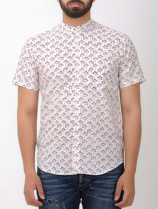 White-Red Block- printed Mandarin Collar Half Sleeve Cotton Shirt