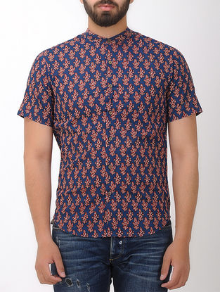 Blue-Red Block- printed Mandarin Collar Half Sleeve Cotton Shirt