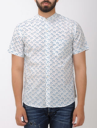 White- Blue Block- printed Mandarin Collar Half Sleeve Cotton Shirt