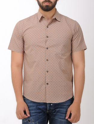 Grey-Orange Block- printed Half Sleeve Cotton Shirt