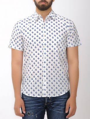 White-Blue Block- printed Half Sleeve Cotton Shirt