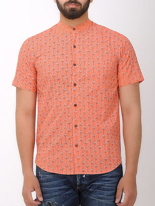 Orange- Black Block- printed Mandarin Collar Half Sleeve Cotton Shirt
