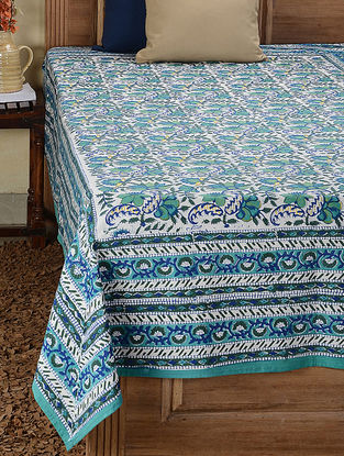 Blue-Green Block-printed Cotton Single Bed Cover (87in x 56in)