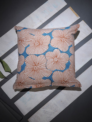 Blue-Brown Block-printed Cotton Cushion Cover (16in x 16in)