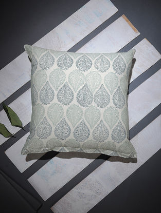 Grey-White Block-printed Cotton Cushion Cover (16in x 16in)