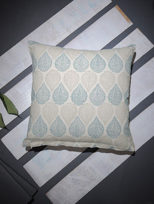 Blue-Beige Block-printed Cotton Cushion Cover (16in x 16in)