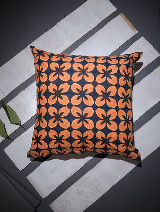 Blue-Orange Block-printed Cotton Cushion Cover (16in x 16in)
