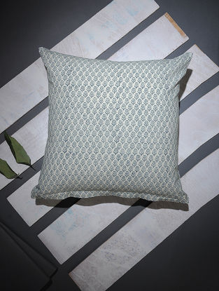 Blue-White Block-printed Cotton Cushion Cover (16in x 16in)