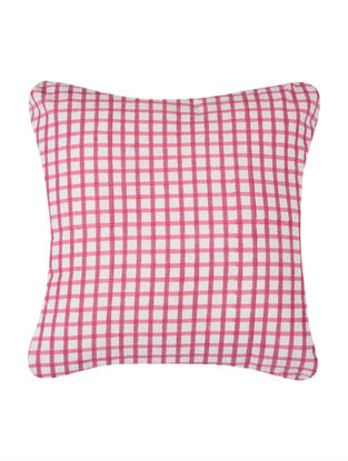 White-Pink Block-printed Cotton Cushion Cover (16in x 16in)