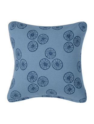 Blue Block-printed Cotton Cushion Cover (16in x 16in)