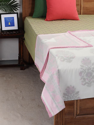 Pink-White Block-printed Cotton Single Dohar (90in x 58in)