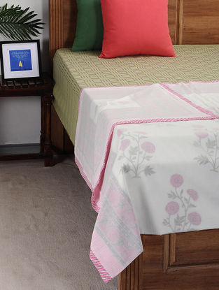 Pink-Green Block-printed Cotton Single Dohar (90in x 57in)