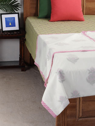Pink-White Block-printed Cotton Single Dohar (90in x 57in)