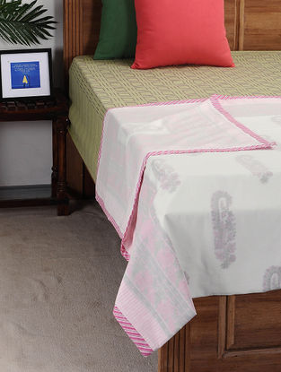 Pink-White Block-printed Cotton Single Dohar (89in x 57in)