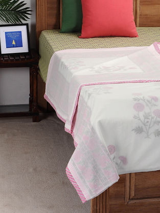 Pink-White Block-printed Cotton Single Dohar (110in x 90in)