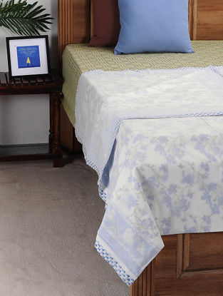 Blue-White Block-printed Cotton Double Dohar (110in x 91in)