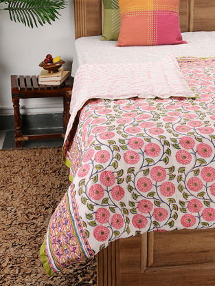 Multicolored Block-printed Cotton Double Quilt (106in x 89in)