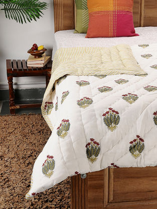 Multicolored Block-printed Cotton Double Quilt (106in x 90in)