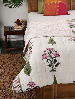Multicolored Block-printed Cotton Double Quilt (102in x 88in)