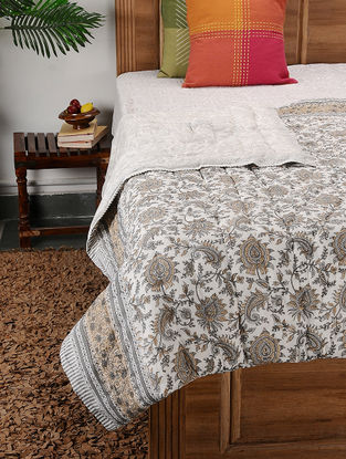 Multicolored Block-printed Cotton Double Quilt (104in x 87in)