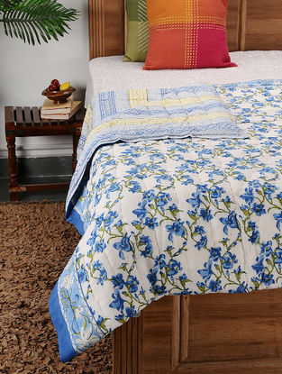 Multicolored Block-printed Cotton Double Quilt (104in x 89in)