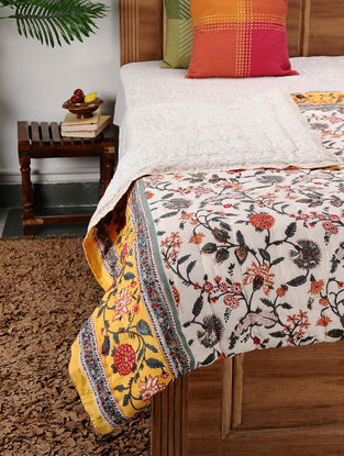 Multicolored Block-printed Cotton Double Quilt (107in x 88in)