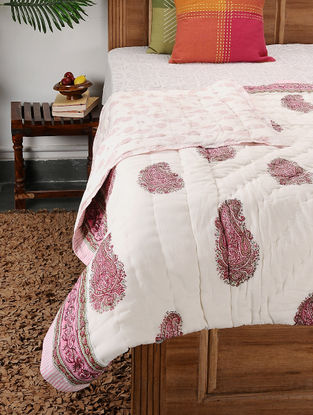 Multicolored Block-printed Cotton Double Quilt (104in x 90in)