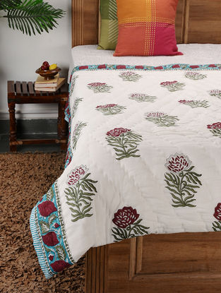 Multicolored Block-printed Cotton Single Quilt (86in x 56in)