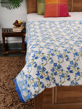 Multicolored Block-printed Cotton Single Quilt (85in x 54in)