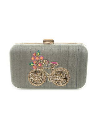 Grey Hand-Embroidered Bicycle Motif Raw Silk Clutch