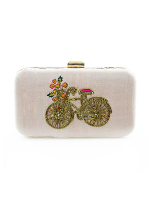Pink Hand-Embroidered Bicycle Motif Raw Silk Clutch