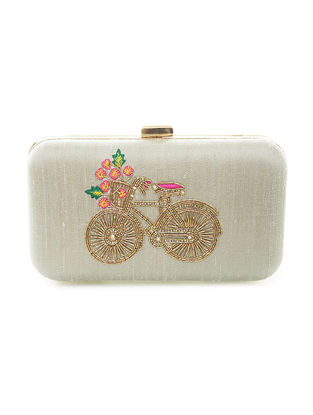 Green Hand-Embroidered Bicycle Motif Raw Silk Clutch