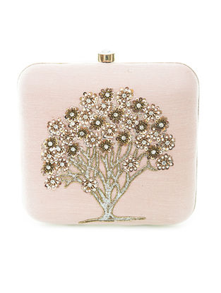 Pink-Gold Hand-Embroidered Sparkling Tree Motif Raw Silk Clutch