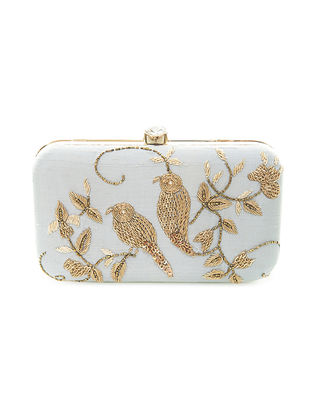 Blue Hand-Embroidered Twin-Bird Motif Raw Silk Clutch