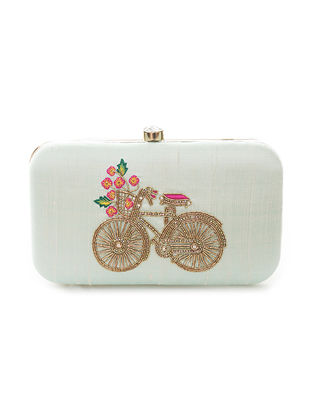 Blue Hand-Embroidered Bicycle Motif Raw Silk Clutch