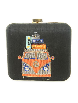 Black Hand-Embroidered Van Motif Raw Slik Clutch