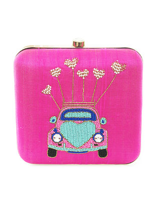 Pink Hand-Embroidered Car Motif Raw Slik Clutch