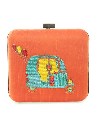 Orange Hand-Embroidered Tuk-tuk Motif Raw Slik Clutch